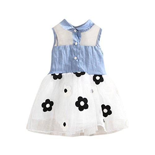 Tefamore kleinkind die mädchen ärmellose denim blumen print kleid sommerkleid Weiß