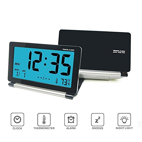 Alarm Clock, KLAREN Travel Clock LCD Mini Digital Desk Folding Electronic Alarm with Blue Backlight Black Black Folding Clock