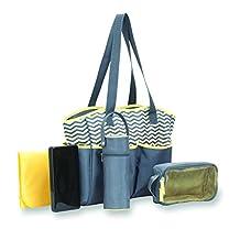 Babyboom 5-in-1 Diaper Bag, Grey/Yellow