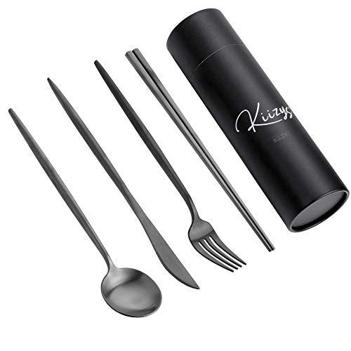 Matte Black Utensils Sets Flatware | 8-piece KiiZYs Silverware Spoons Forks Knives Kitchen Modern Cutlery Stainless…