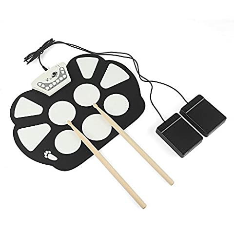 JouerNow RUD003 7 Pads MIDI Electric Roll Up Drum Set/ Foldable Silicon Table Hand Roll Drum Music Instruments, Battery/ USB Powered, with Built-in Metronome