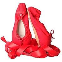 SODIAL 1 Pair Child Ballet Pointe Dance Shoes Professional Ballet Dance Shoes with Ribbons Shoes red-Canvas Size: 30