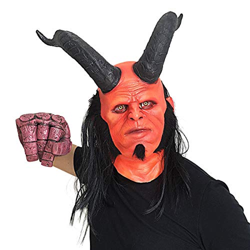 Lucky Lian Men's Hellboy Mask Halloween Costume Latex Replica Mask Cosplay (Hellboy Mask with Horn)