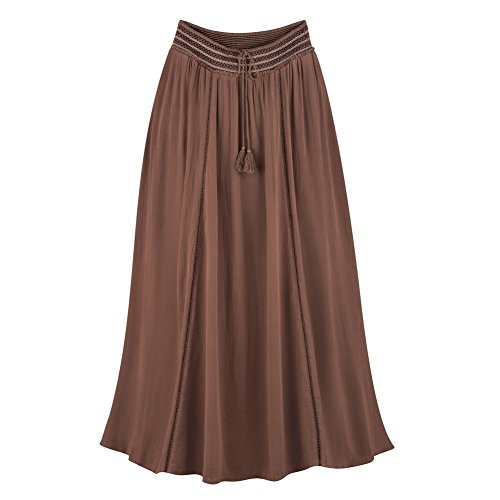 Collections Etc Women's Long Skirt With Embroidered Waistband, Chocolate, (Embroidered Woven Skirt)