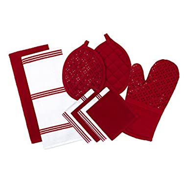 Sticky Toffee Silicone Printed Oven Mitt & Pot Holder, Cotton Terry Kitchen Dish Towel & Dishcloth, Red, 9 Piece Set