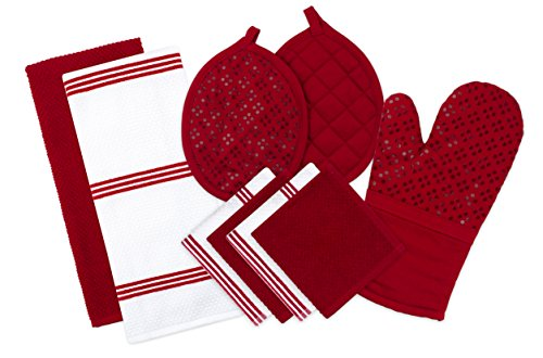 Sticky Toffee Silicone Printed Oven Mitt & Pot Holder, Cotton Terry Kitchen Dish Towel & Dishcloth, Red, 9 Piece Set (Sticky Red)