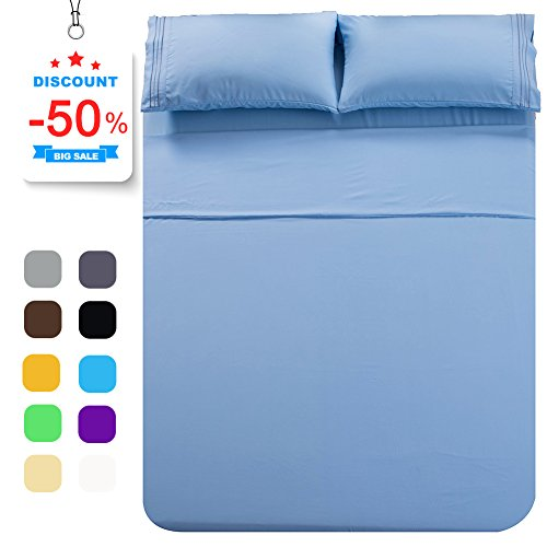 Shilucheng Bed Sheet Set Microfiber 1800 Threads Egyptian Super Soft Sheets 16-Inch Deep Pocket - Hypoallergenic - 4 Piece (Queen, Lake Blue)