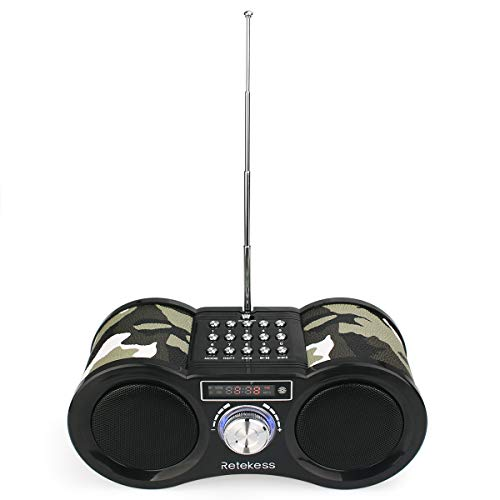 le Transistor FM Stereo Radio Support MP3 Music Player Speaker Micro SD IF Card Aux Line In Remote(Camouflage) ()