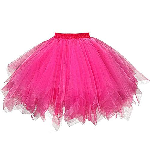 - WUAI Womens 1950s Vintage Ballet Bubble Skirt Tutu Tulle Petticoat Ballet Bubble Skirts Short Prom Dress up (Hot Pink,Large/X-Large)