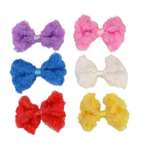 Rosette Chiffon (WSSROGY 12pcs Chiffon Fabric Rosette Bows Wedding Decorations DIY Accessories)