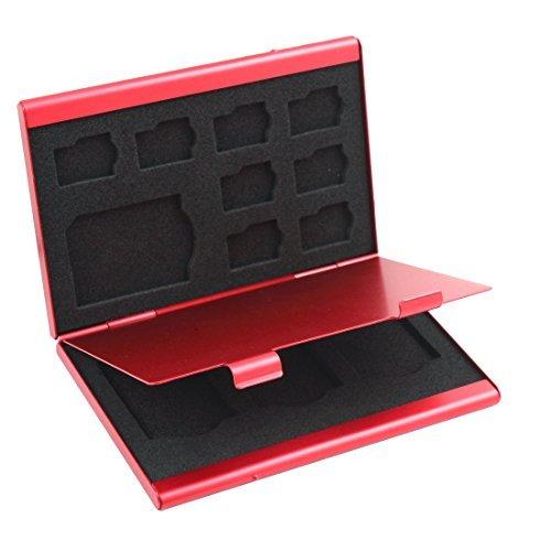 eDealMax en alliage d'aluminium 12 emplacements TF Carte mémoire SD SIM cas de stockage boîte sac protecteur Porte-Rouge