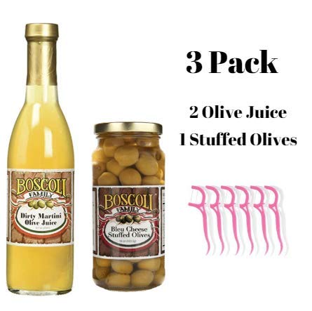 Boscoli Olive Juice, 12.7 oz (Pack of 2) & Blue Cheese Stuffed Olives (Variety Pack) Bundled with 20ct Dental Flossers in a Prime Time Direct Sealed Bag by Prime Time Direct