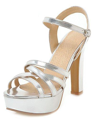 Aisun Women's Fashion Buckled Platform High Chunky Heels Sandals Silver 6zBbOWS8c