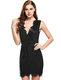 Meaneor Women's Sleeveless Crossover V Neck Lace Floral Trim Casual Dress