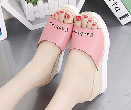 Sandales 6 Femme Aisun Rose Peep Mode Toe Mules 5cm Semelle Epaise 6qAw8qYa