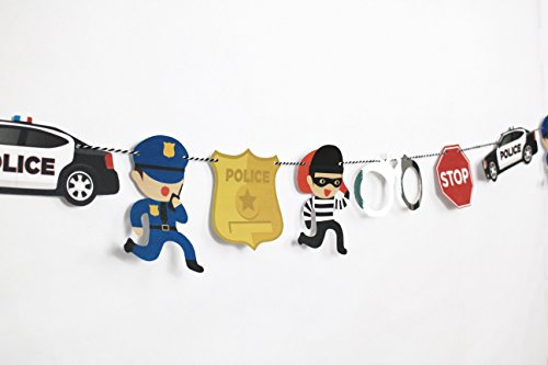 Cops and Robbers - Garland | Cop Party Decoration | Boy Birthday Party | Cops, Robbers, Police Car, Police Badge, Handcuffs, Stop Sign | Kids Party Decor -