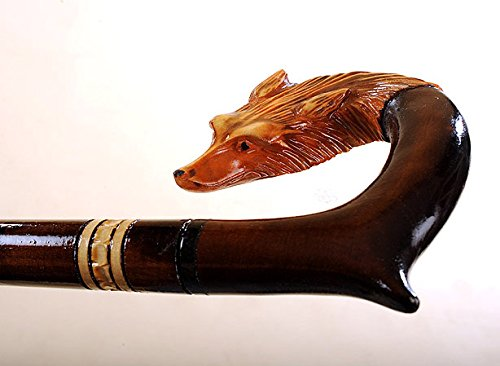 Fox - Hand Carved Wooden Walking Stick or Cane