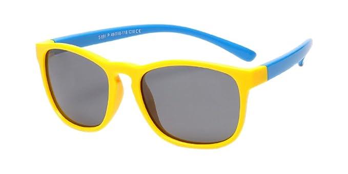 Dintang Unisexo Niños Moda Wayfarer Gafas de Sol para Niños & Niñas Flexible Rubber Retro Polarizadas