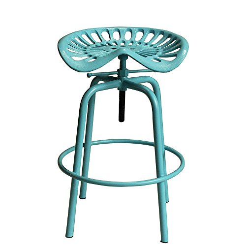 - VINTAGELIVING Industrial Swivel Bar Stool Tractor Saddle Seat Kitchen Dining Coffee Chair Height Adjustable Metal (Blue)