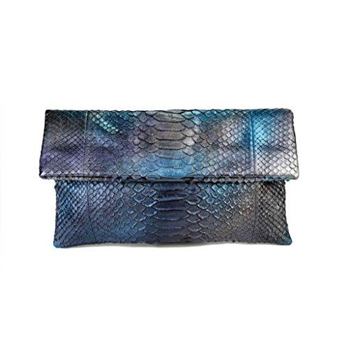 Genuine Metallic Blue Aura Python Leather Classic Foldover Clutch Bag