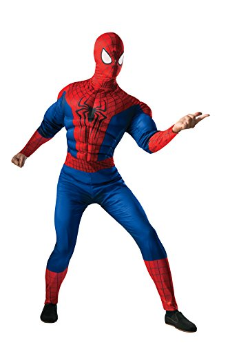 Rubie's Costume Men's Marvel Universe, The Amazing Spider-man 2 Deluxe Muscle-chest Spider-man Costume, Multicolor, One (Male Costume Halloween)