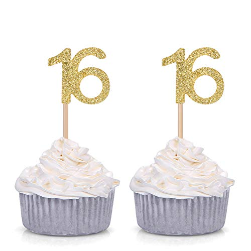 Giuffi Set of 24 Golden Number 16 Cupcake Toppers Sweet 16th Birthday Celebrating Party Decors