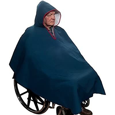 Warm Wheelchair Poncho with Sherpa-Like Lining (Navy Blue)