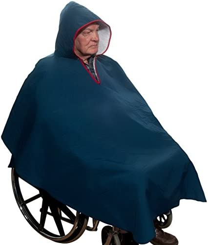 Warm Wheelchair Winter Poncho with Sherpa-Like Lining (Navy Blue)