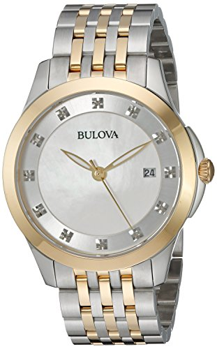 Bulova Women's Quartz Stainless Steel Dress Watch, Color:Two Tone (Model: 98P161)