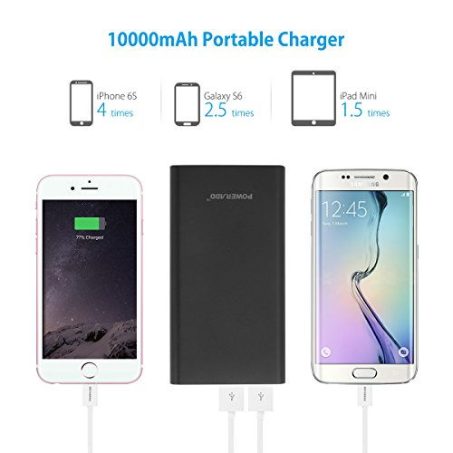 Upgraded Poweradd 2nd Gen 34A Pilot 2GS 10000mAh easily transportable Charger External Battery capability Bank by using speedy Charging for iPhone Samsung Galaxy and alot more Black journey Chargers