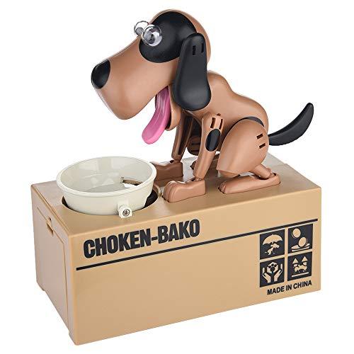 JAWM My Dog Piggy Bank, Robotic Coin Munching Toy Money Box Saving Money Coin Bank (Light Brown Dog)