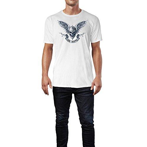SINUS ART ® Totenkopf mit Flügeln und Banner Herren T-Shirts in Weiss Fun Shirt mit tollen Aufdruck