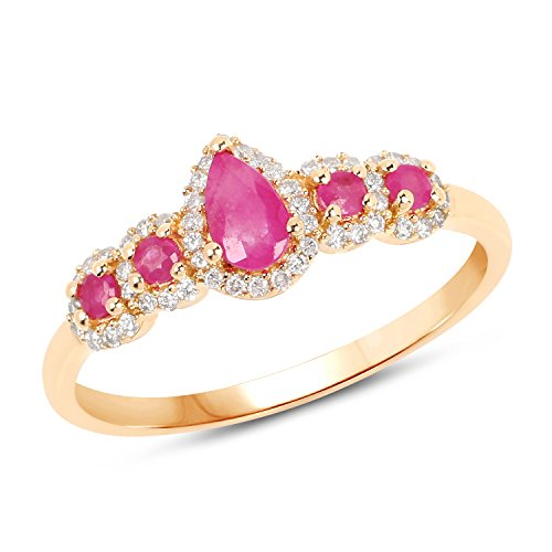 (14K Yellow Gold Ruby and White Diamond Ring (0.56 cttw, I-J Color, I2-I3 Clarity) from Johareez )
