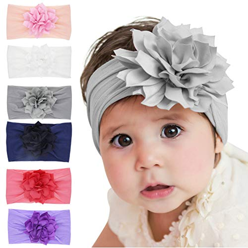 Qandsweet Baby Girl's Headbands with Chiffon Lotus Flower Soft Nylon Headwrap (Mixed 6 Pack) -