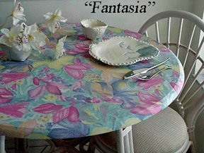 """Tropical Flowers Round Elastic Edge Fitted Tablecloth Vinyl Table Cover fits 36""""-48"""""""