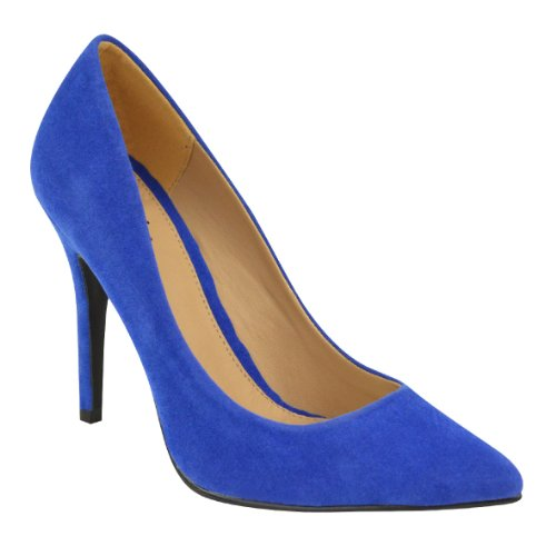 WOMENS LADIES LOW MID HIGH HEEL POINTED TOE PUMPS SMART OFFICE WORK COURT SHOES SIZE Royal Blue Suede KM3oI5