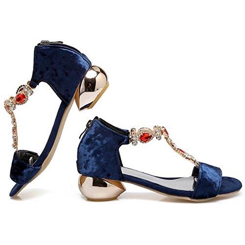 con Correa Fiesta Mujer Abierta Azul Sandalias en Moda Ancho Zapatos Punta T Medio TAOFFEN Piedras Tacon OqTBT