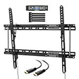 "PERLESMITH PSLTK2 Tilting TV Wall Mount Bracket Fits for 16"",18"",24"" Studs, Low Profile Tilt TV Mount for Most 37-70 Inch LED, LCD, OLED, Plasma Flat Screen TVs with VESA up to 600x400mm 132lbs"