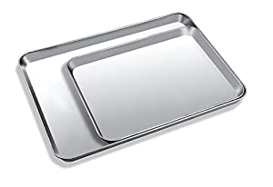 Toaster Oven Tray Pan, Zacfton Baking Sheet Stainless Steel Cookie Sheet Rectangle Size 10 x 8 x 1 inch, Non Toxic & Healthy,Superior Mirror Finish & Easy Clean, Dishwasher Safe