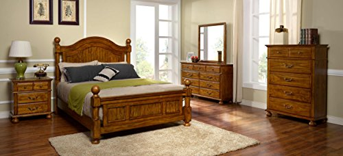 Bedroom King Queen Suite - New Classic 00-401-15C Cumberland 5-Piece Bedroom Set Eastern King Bed, Dresser, Mirror, Nightstand, Chest of Drawers