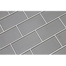10 Square Feet - Pearl Grey 3x6 Glass Subway Tiles
