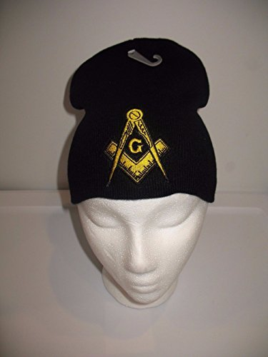 Mason Masonic Black with Gold Symbol Winter Knit Beanie Skull Cap Military Veteran Skully