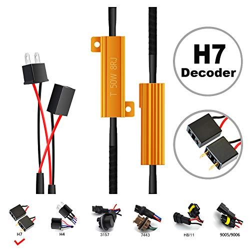 HOCOLO H7 LED Resistor Kit Relay Harness Adapter Anti Flicker Error Decoder Warning Canceller (2pcs H7-Resistor Decoder)