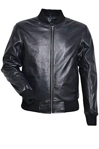 275 Veste rétro en cuir véritable d'agneau de style de motard classique NOIR d'hommes BLACK