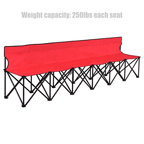 Portable Folding 6 seats Chair Outdoor Backyard Camping Picnic Sports Game Strong Steel Frame Lightweight Design Durable Oxford-Fabric Foldable Bench - Red - Hialeah Stores In