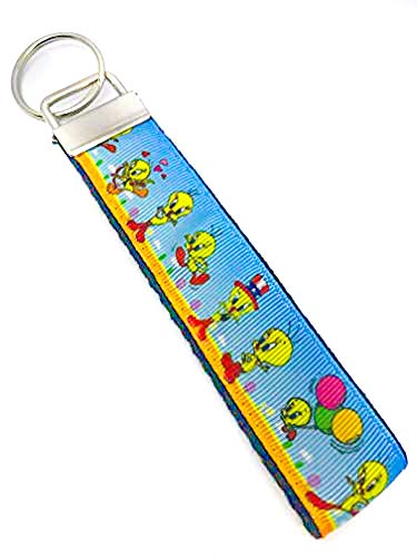 "Tweety Bird - Keychain Polyester Fabric Wristlets for Key Fob, Key, ID Badge Holder, USB, Purse (aprox 4""x1"" 5-6"" total length with hardware) ()"