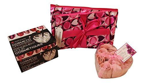 e up accessory bundle Includes: 2 heart print make up bags, heart shaped makeup organizer, Soap petal flower gift box (Cream Heart Shaped Gift Box)