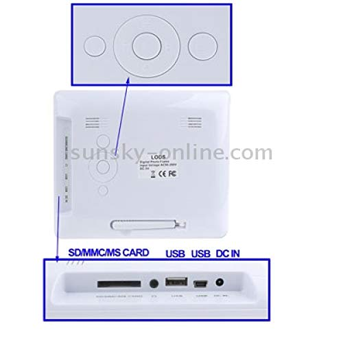 Marco Digital de 8 Pulgadas con Control Remoto/batería Recargable (2300mAh) (Blanco): Amazon.es: Electrónica