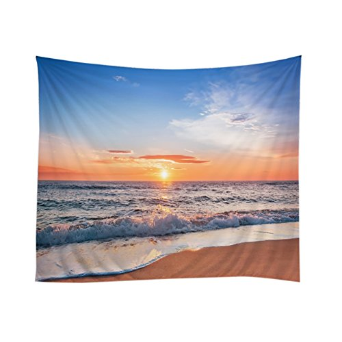 Xinhuaya Ocean Decor Collection, Sand Beach in Summer at a Hot Island with Clean Sky and Sea Picture, Bedroom Living Kids Girls Boys Room Dorm Accessories Wall Hanging Tapestry 51 W by 60