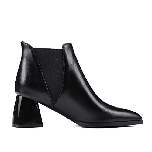 Heels Pointed Ankle toe AIWEIYi Black Boots Chunky Womens High SOYX5w5qHn
